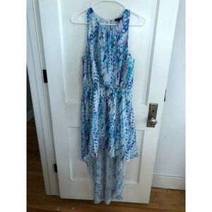 Blue high low sleeveless dress size large